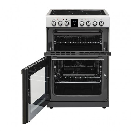 Belling FSE608MFC 60cm Electric Range Cooker with Ceramic Hob and Multifunction Double Oven (Stainless Steel)