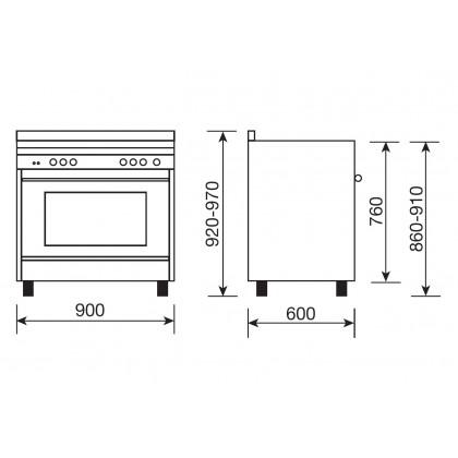 Glem Matrix Dual Fuel 5 Gas Burner Range Cooker 90cm