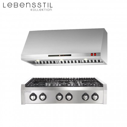 Lebensstil Kolllektion LKPH-8006SS 90cm Professional Series 6 Burners Gas Hob (Stainless Steel)