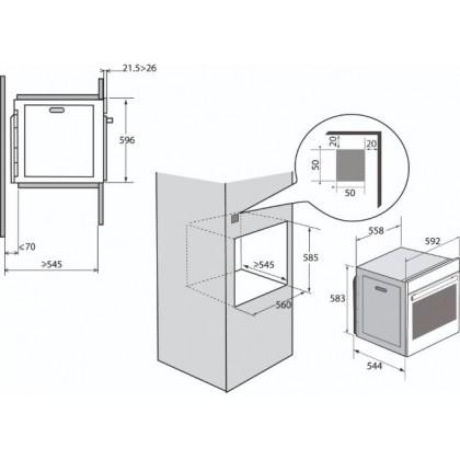 Brandt 60cm 73L Built-in Pyrolytic Oven BXP6577X