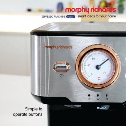 Morphy Richards 172EM1 Espresso Coffee Machine 20 Bar (Rose Gold with Stainless Steel)
