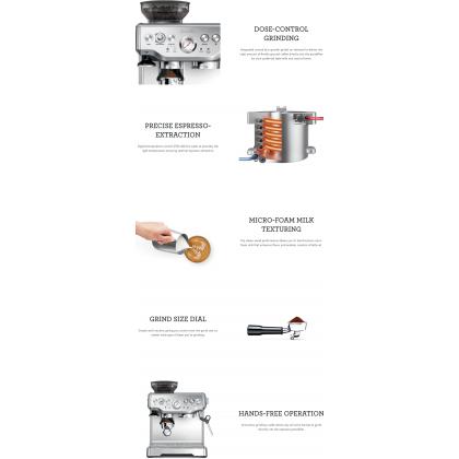 Breville BES870 Barista Express Espresso Coffee Machine (Black Sesame)