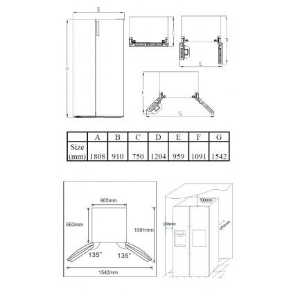 Teka RLF 74911 SS 661L Side by Side 90cm Refrigerator (Stainless Steel)