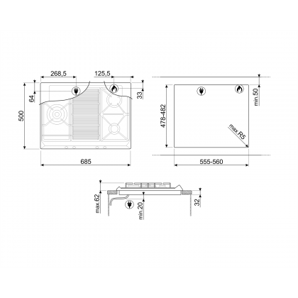 Smeg SRV573XG 3 Burner Gas Hob 70cm (Stainless Steel)
