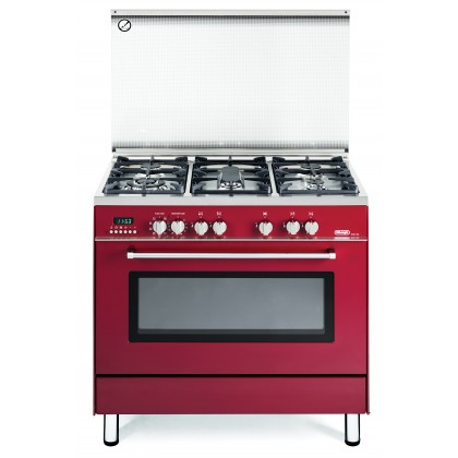 Delonghi PEMR-9653 Professional Dual Fuel Range Cooker 5 Burners 100L Oven (Red) Made in Italy