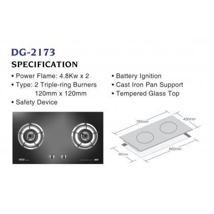 Delonghi DG-2173 2 Burners Gas Hob 4.8kW (Black Tempered Gas)