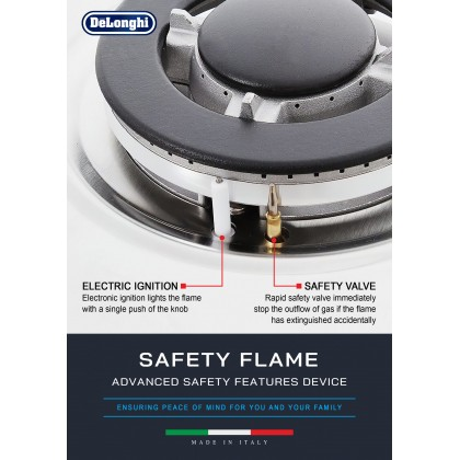 Delonghi IL 319 ASD DX 3 Burners Gas Hob 4.8kW (Stainless Steel)