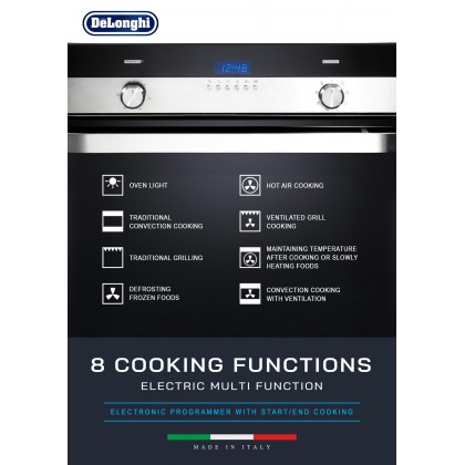 Delonghi DBO-6388 Built-in Oven 59L 8 Functions - Made in Italy