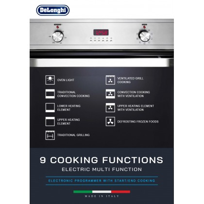 Delonghi DBO-6300 Built-in Oven 59L 9 Functions - Made in Italy