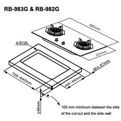 Rinnai RB-983G 3 Burner Built-in Flexi Gas Hob 4.5kW (Glass)