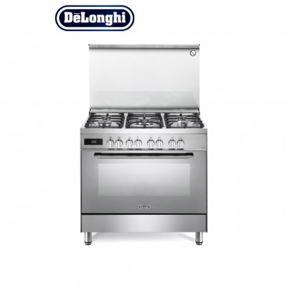 [Made in Italy] Delonghi PEMX-9568 Professional Dual Fuel Range Cooker 5 Burners 100L Oven (Stainless Steel)