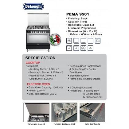[Made in Italy] Delonghi PEMA-9501 Professional Dual Fuel Range Cooker 5 Burners 100L Oven (Black)