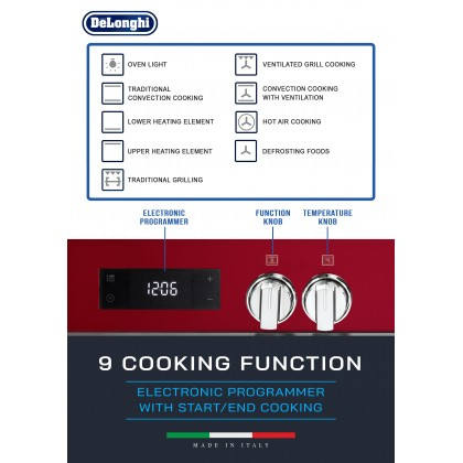 [Made in Italy] Delonghi PEMR-9563 Professional Dual Fuel Range Cooker 5 Burners 100L Oven (Red)